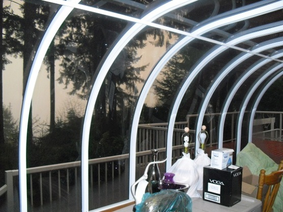 sunroom in disaray used as packing